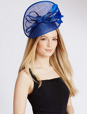 Faux Feather Twisted Fascinator, BRIGHT BLUE, catlanding