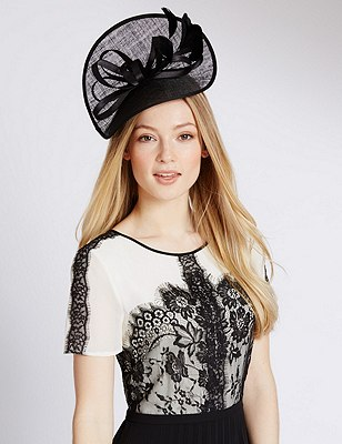 Faux Feather Twisted Fascinator, BLACK, catlanding