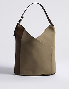 Faux Leather Ring Detail Hobo Bag, GREY MIX, catlanding
