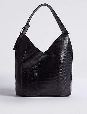 Faux Leather Ring Detail Hobo Bag, BLACK MIX, catlanding