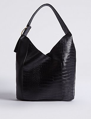 Faux Leather Ring Detail Hobo Bag, BLACK MIX, catlanding