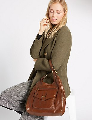 Leather Hobo Bag, DARK TAN, catlanding