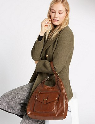 Leather Hobo Bag, DARK TAN, catlanding