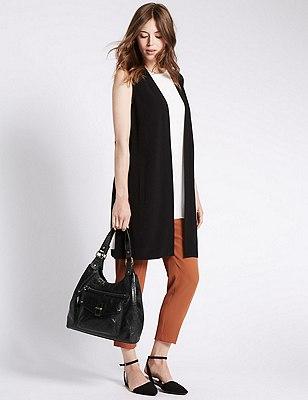 Leather Hobo Bag, BLACK, catlanding