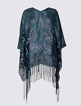 Paisley Print Burnout Cover Up Wrap