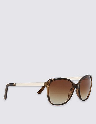 Retro Metal Arm Rectangle Sunglasses, BROWN MIX, catlanding