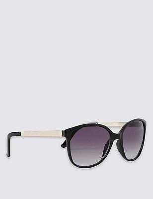 Retro Metal Arm Rectangle Sunglasses, BLACK, catlanding