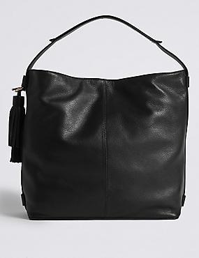 Hobo-Tasche aus Leder mit Troddeln, SCHWARZ, catlanding