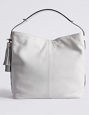 Hobo-Tasche aus Leder mit Troddeln, WEISS, catlanding
