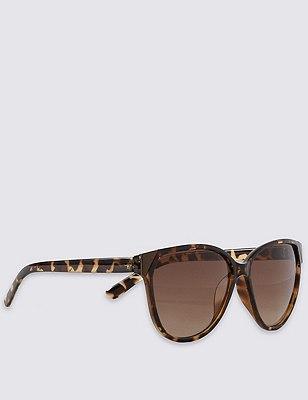Enamel Frame Cat's Eye Sunglasses, BROWN MIX, catlanding