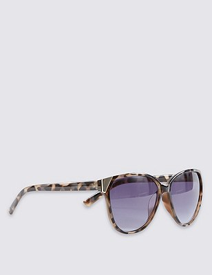 Enamel Frame Cat's Eye Sunglasses, GREY MIX, catlanding