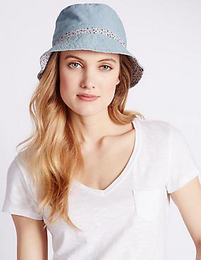 Pure Cotton Reversible Floral Trim Hat, BLUE MIX, catlanding