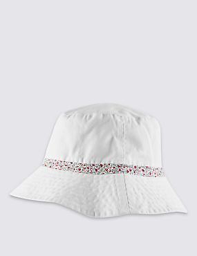 Pure Cotton Reversible Floral Trim Hat, WHITE MIX, catlanding