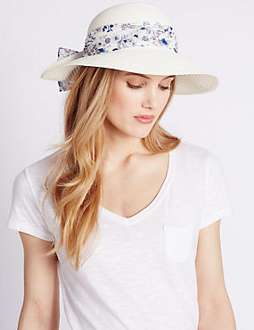 Floral Scarf Trim Hat, WHITE MIX, catlanding