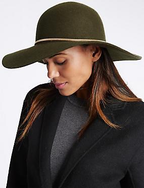 Pure Wool Chain Floppy Hat, KHAKI, catlanding