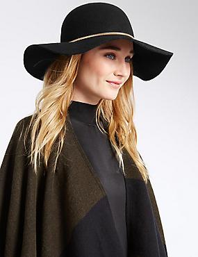 Pure Wool Chain Floppy Hat, BLACK, catlanding