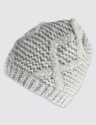 Шапка Beanie с плетением косичкой M&S Collection T014087F