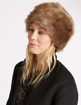 Faux Fur Cossack Hat, NATURAL, catlanding