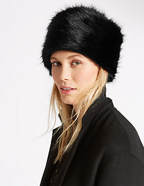 Faux Fur Cossack Hat, BLACK, catlanding