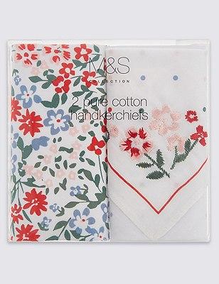 2 Pack Pure Cotton Floral Handkerchiefs, WHITE MIX, catlanding