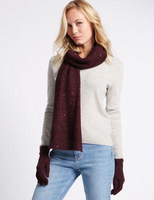 Вязаный комплект с блёстками: перчатки и шарф