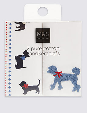 2 Pack Pure Cotton Animal Print Handkerchiefs, WHITE MIX, catlanding