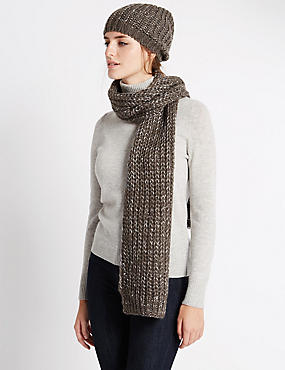 Chunky Sequin Hat and Scarf Set, GREY, catlanding