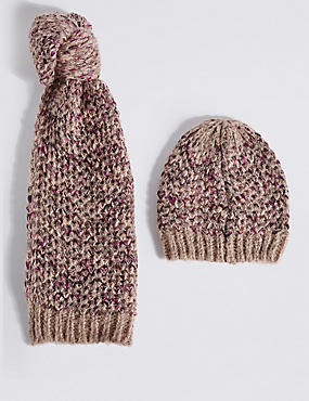 Honeycomb Scarf & Hat Set, PURPLE MIX, catlanding