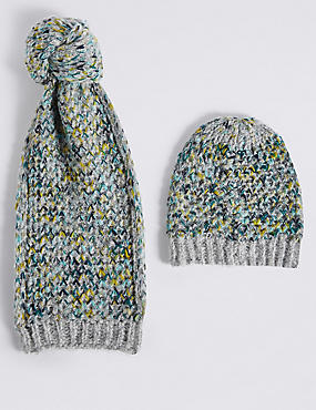 Honeycomb Scarf & Hat Set, GREEN MIX, catlanding