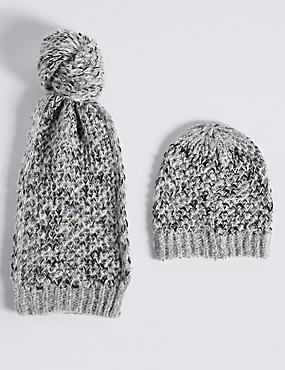 Honeycomb Scarf & Hat Set, BLACK MIX, catlanding