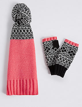 Fairisle Scarf & Gloves Set, , catlanding