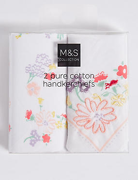 Pure Cotton Handkerchiefs, WHITE MIX, catlanding