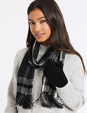 Checked Scarf & Gloves Set, BLACK MIX, catlanding