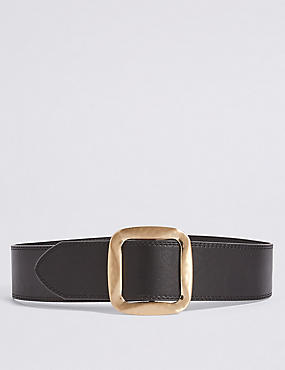 Square Buckle Waist Belt, BLACK, catlanding
