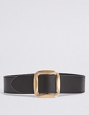 Square Buckle Waist Belt, BLACK, catlanding