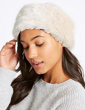 Faux Fur Cable Knit Winter Hat, CREAM, catlanding