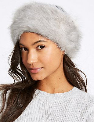 Faux Fur Cable Knit Winter Hat, GREY, catlanding