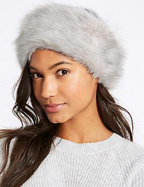 Faux Fur Cable Knit Winter Hat, GREY, catlanding