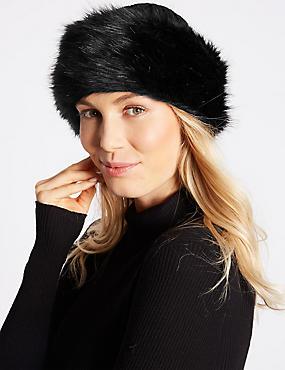 Faux Fur Cable Knit Winter Hat, BLACK, catlanding