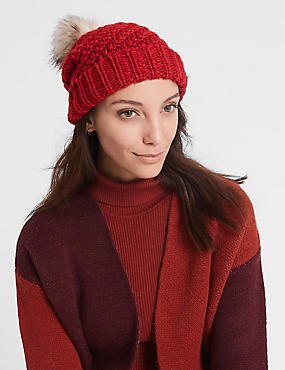 Fur Bobble Winter Hat, RED, catlanding