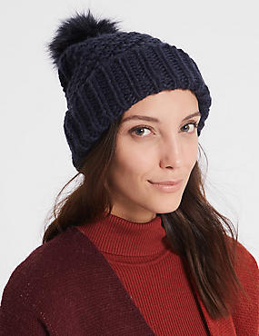 Fur Bobble Winter Hat, NAVY, catlanding