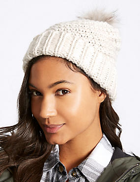 Fur Bobble Winter Hat, CREAM, catlanding
