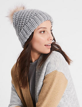 Fur Bobble Winter Hat, GREY MIX, catlanding