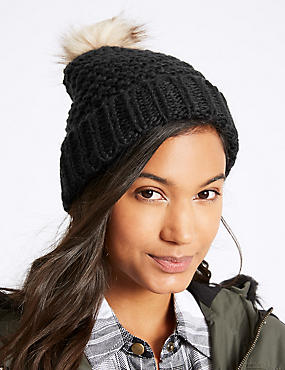 Fur Bobble Winter Hat, BLACK, catlanding