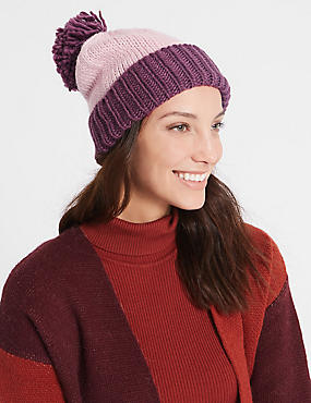 Bobble Winter Hat, PINK MIX, catlanding