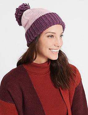 Bobble Winter Hat, PINK MIX, catlanding