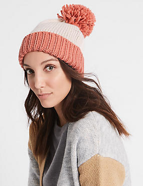 Bobble Winter Hat, CORAL MIX, catlanding