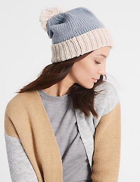 Bobble Winter Hat, BLUE MIX, catlanding