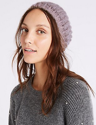 Textured Beanie Winter Hat, PINK, catlanding