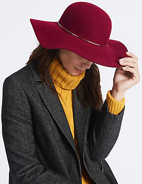 Pure Wool Floppy Winter Hat with Thinsulate™, CLARET, catlanding